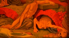 Fresco Doomsday in the Church - stock footage