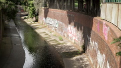 River Rea in a culvert, Birmingham, England. Stock Footage
