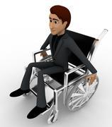 3d man on wheel chair concept - stock illustration