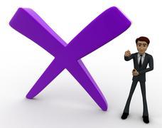 3d man with big cross mark concept - stock illustration