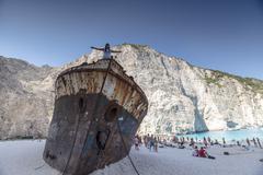 View of Navagio (Shipwreck) Beach in Zakynthos - stock photo