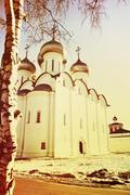 St. Sophia Cathetral in Vologda,Russia.Toned image. - stock photo