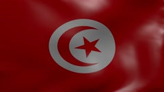 Tunisia strong wind flag Stock Footage