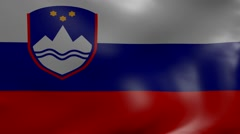Slovenia strong wind flag Stock Footage