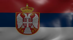Serbia strong wind flag Stock Footage