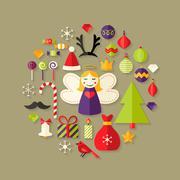 Christmas Flat Icons Set Over Light Brown Stock Illustration
