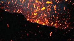 Volcano eruption at night Stock Footage