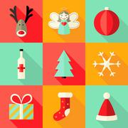 Nine Christmas Flat Red Orange Mint Icons Set Stock Illustration