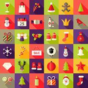 Big Colorful Christmas Squared Flat Icons Set - stock illustration