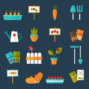 Stock Illustration of Gardening set icons over blue