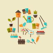 Stock Illustration of Gardening icons set over light beige