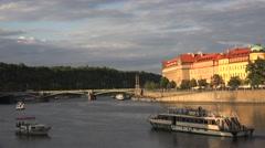 Tourist boats at the Vltava River near Manes Bridge. Prague Stock Footage