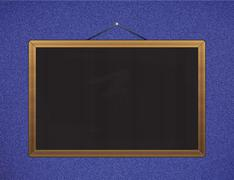 Black chalkboard with brown corners over jeans - stock illustration