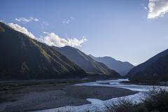 Mountains and river in Tibet, China Stock Photos