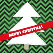 Christmas tree on a green stripped background Stock Illustration