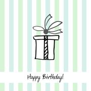 Cute stripped happy birthday card with present box - stock illustration