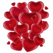 Stock Illustration of Many red hearts on a white background