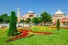 Hagia Sophia with flower garden, Istanbul, Turkey - stock photo