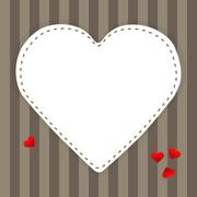 White paper heart on a stripped background - stock illustration