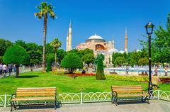 Hagia Sophia and bench, Istanbul, Turkey - stock photo