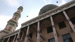 Islamic architecture, mosque minaret & dome - stock footage