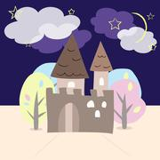 Night castle with trees - stock illustration