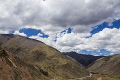 Mountains and sky in Tibet, China - stock photo
