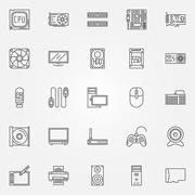 Computer components icons set Stock Illustration