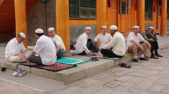 Hui muslims in mosque, Xining, China Stock Footage