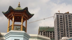 Chinese mosque pagoda, construction crane Stock Footage