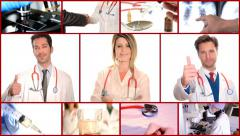 Medical doctors collage Stock Footage