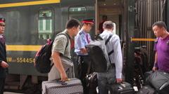 Chinese railway travel, boarding train Stock Footage