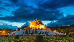 Royal Pavilion In Royal Park Ratchaphruek Of Chiang Mai, Thailand Stock Footage
