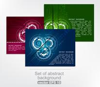 Set of abstract colorful technology background with gears - stock illustration
