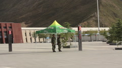 Chinese soldiers in Tibet, Lhasa Station Stock Footage