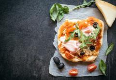 Ham mini pizza Stock Photos