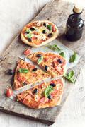 Served vegetarian pizza Stock Photos