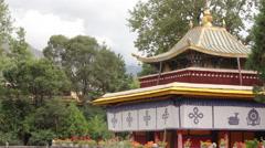 Tibetan pavilion, Norbulingka Palace, Lhasa Stock Footage