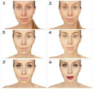 Training sequence applying makeup. Collage of a woman. Stock Photos