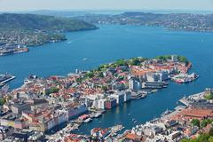 View to the buildings and harbor in Bergen, Norway. Stock Photos