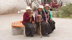 Old Tibetan women, Buddhists, Lhasa, Tibet Stock Footage