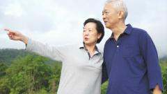 Video of Happy asian senior couple pointing, talking and walk through the park Stock Footage