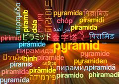Pyramid multilanguage wordcloud background concept glowing - stock illustration