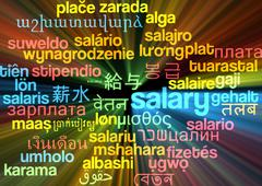 Salary multilanguage wordcloud background concept glowing Stock Illustration