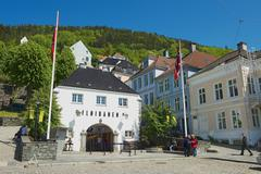Exterior of the Floyen funicular station building in Bergen, Norway. Stock Photos