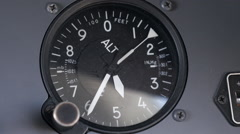 Aircraft Altimeter, Altitude Dropping Quickly in Moving Turbulent  Jet Airplane Stock Footage
