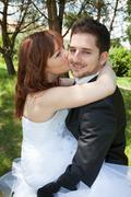 Happy newly married couple in love Stock Photos