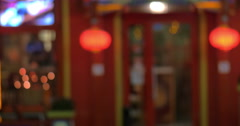 Chinese style cafe or shop entrance Stock Footage