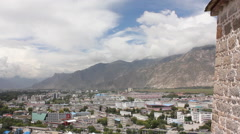 Lhasa skyline, Tibet, mountains Stock Footage