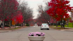 Indiana University Busy Roundabout in Fall Stock Footage